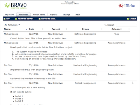 Activity Reporting Screenshot